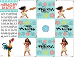 Free Disney Moana Memory Match Game