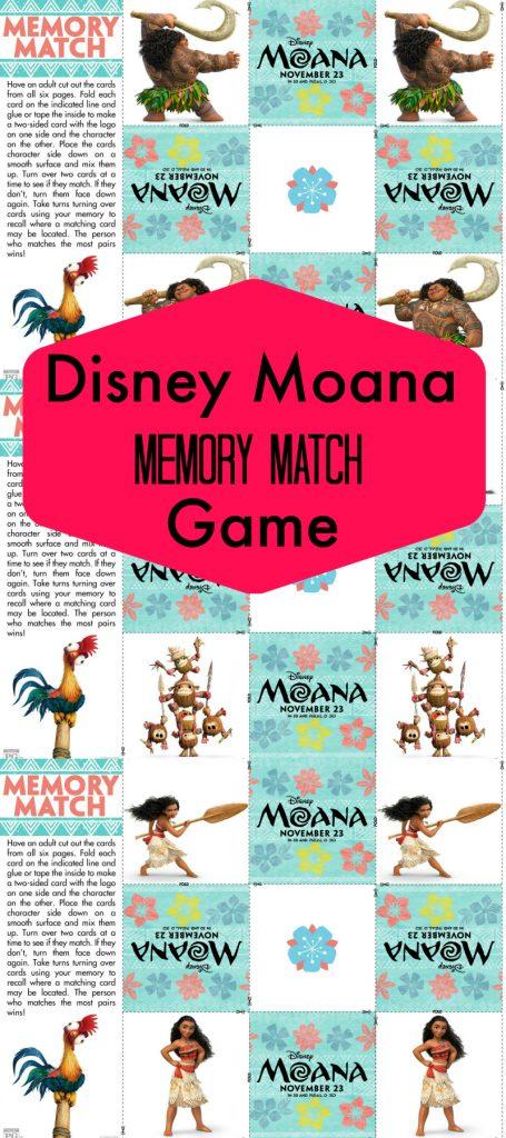 Free Disney Moana Memory Match Game