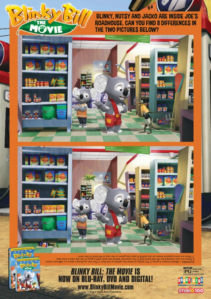 Blinky Bill Spot The Differences Activity Page