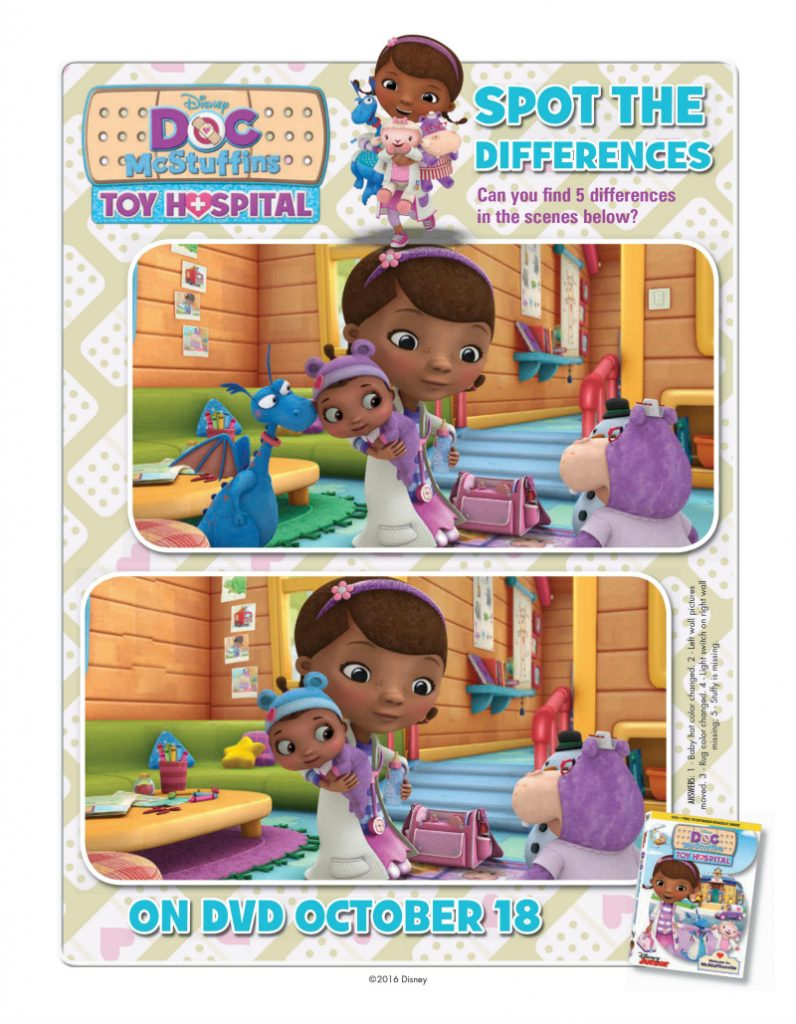 Doc McStuffins Spot The Differences Activity Page