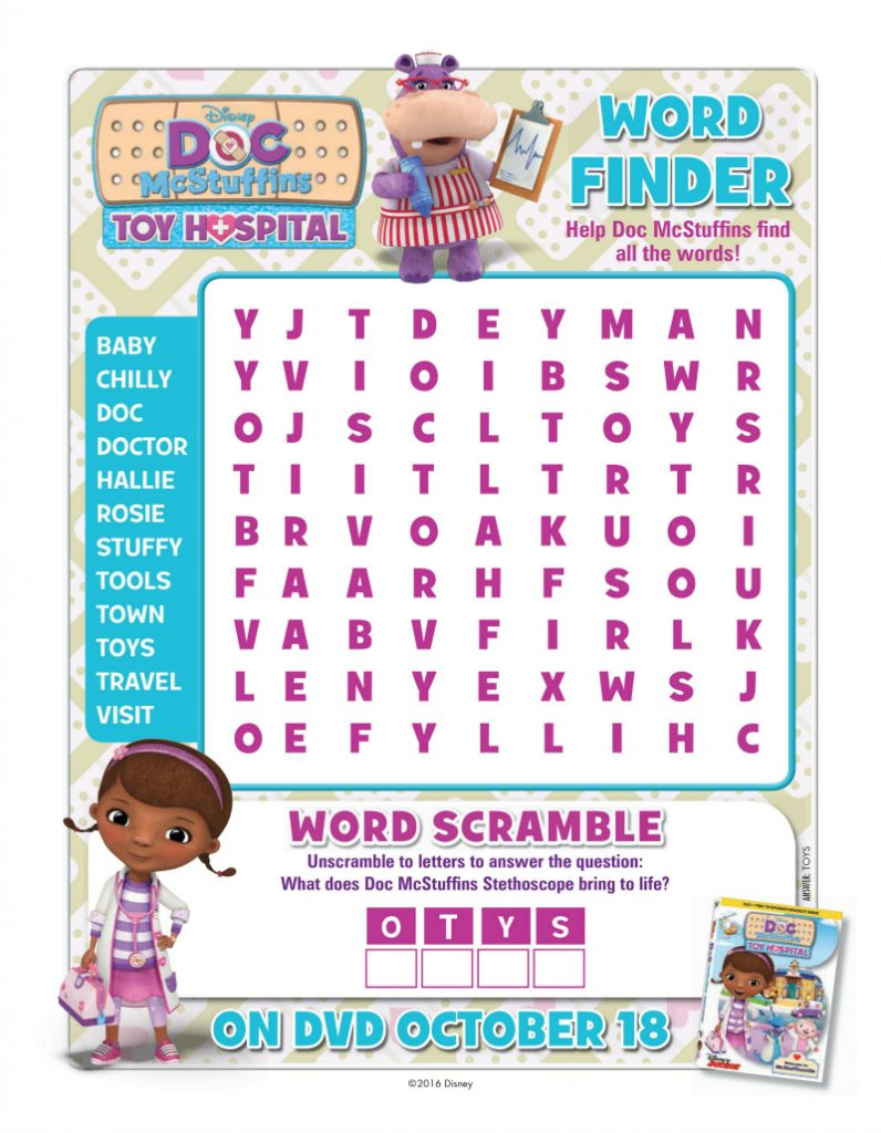 Doc McStuffins Word Search Activity Page