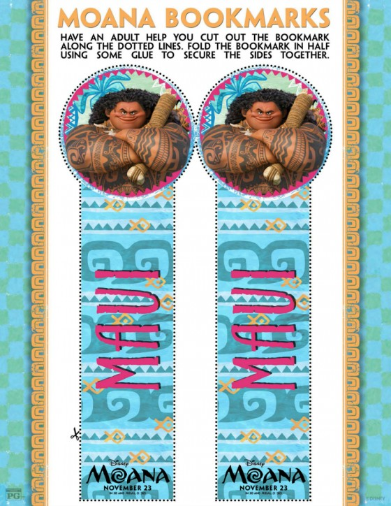 Moana Maui Bookmark Craft