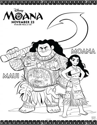 Disney Maui and Moana Coloring Page