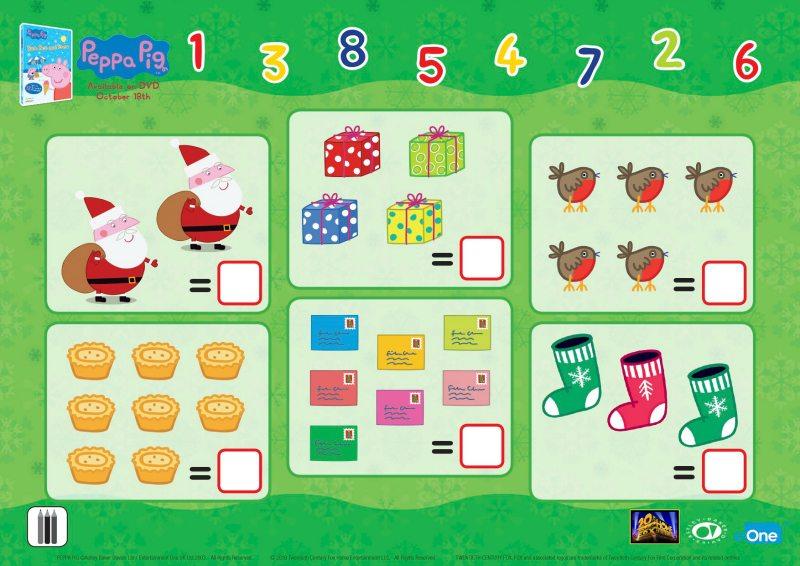 Peppa Pig Christmas Counting Worksheet