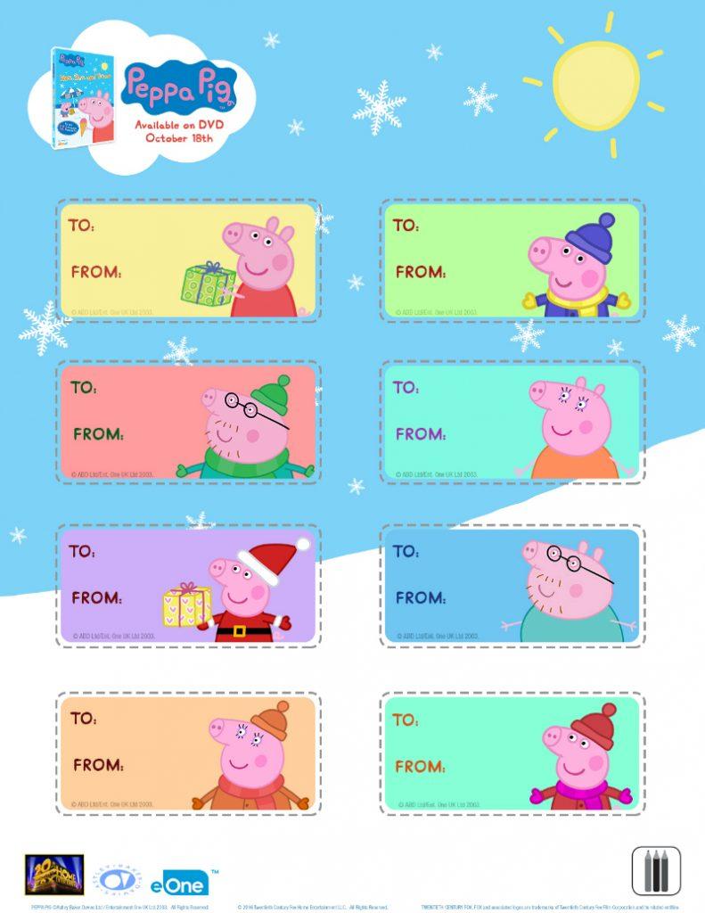 Free Peppa Pig Christmas Gift Tags