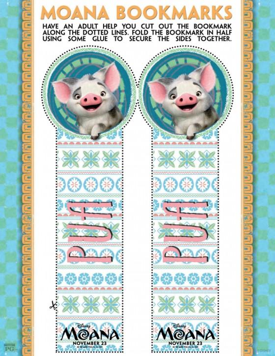Disney Moana Pua Bookmark Craft