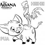 Moana Pua and Heihei Coloring Page