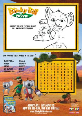 Blinky Bill Word Search and Connect The Dots