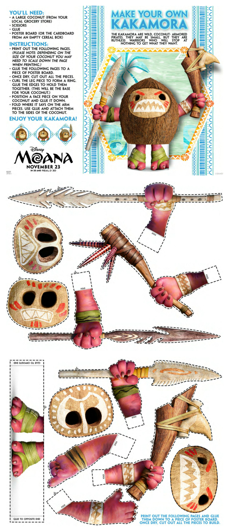 photo about Kakamora Printable identified as Disney Moana Create Your Individual Kakamora Craft Mama Likes This