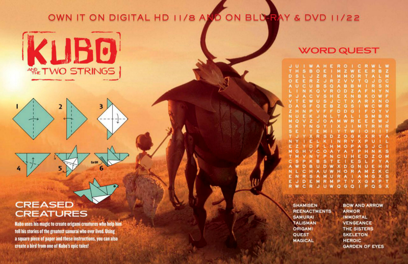 Kubo and The Two Strings Word Search and Origami Craft