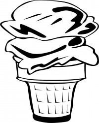 Free Printable Double Scoop Ice Cream Cone Coloring Page