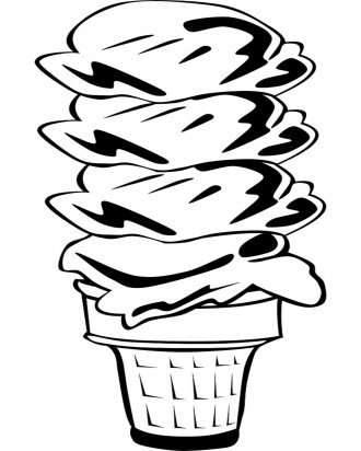 4 Scoop Ice Cream Cone Coloring Page
