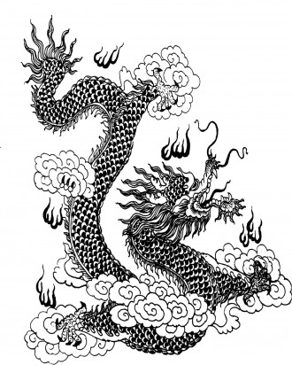 Asian Style Dragon Coloring Page