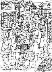 Christmas Carolers Printable Coloring Page