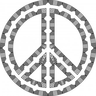 Art Deco Peace Sign Coloring Page