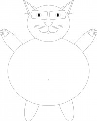 Fat Cat Wearing Glasses Coloring Page