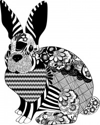 Floral Bunny Adult Coloring Page