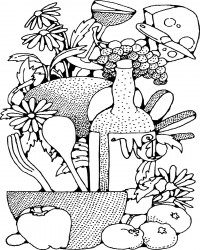 Free Printable Food and Wine Coloring Page for Adults