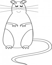 Happy Chubby Mouse Coloring Page
