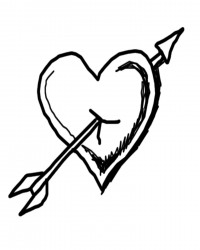 Free Printable Put and Arrow Through My Heart Valentine's Day Coloring Page