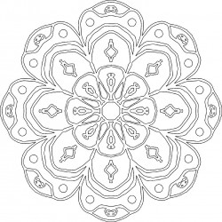 Kaleidoscope Flower Adult Coloring Page