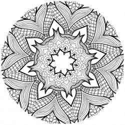 Detailed Flower Design Coloring Page for Adults