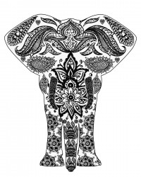 Free Printable Ornate Elephant Coloring Page