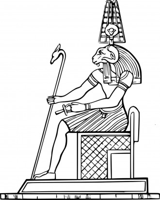 Egyptian Pharoah on a Throne Coloring Page