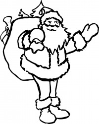 Santa with Toy Sack Christmas Coloring Page