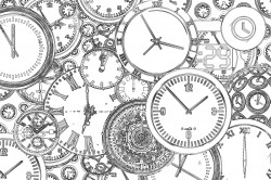 Free Printable Steampunk Clocks Coloring Page