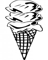Triple Scoop Ice Cream Cone Coloring Page