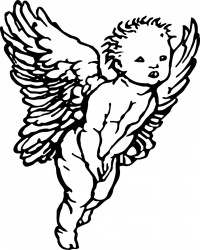 Vintage Valentine's Day Cherub Coloring Page