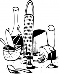 Cheese and Wine Coloring Page for Adults