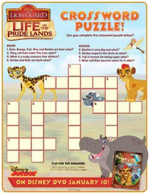 Disney Lion Guard Crossword Puzzle