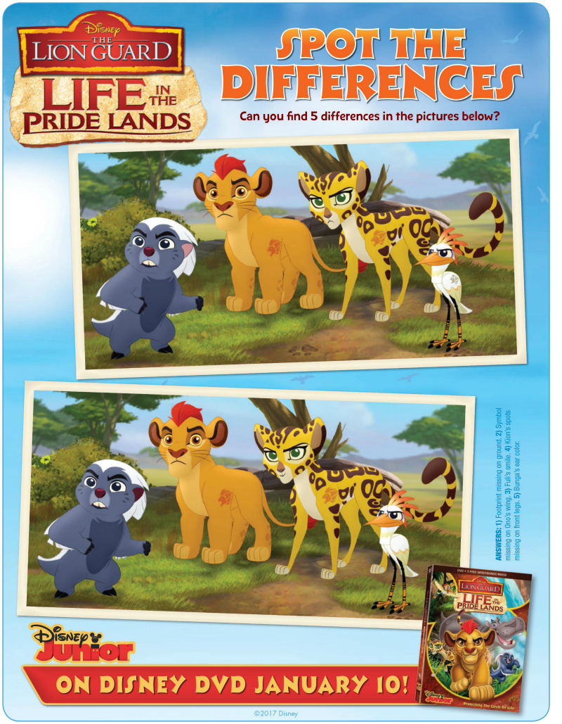 Disney Lion Guard Spot The Differences Activity Page