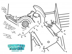 Free Printable Monster Trucks Connect The Dots Coloring Page