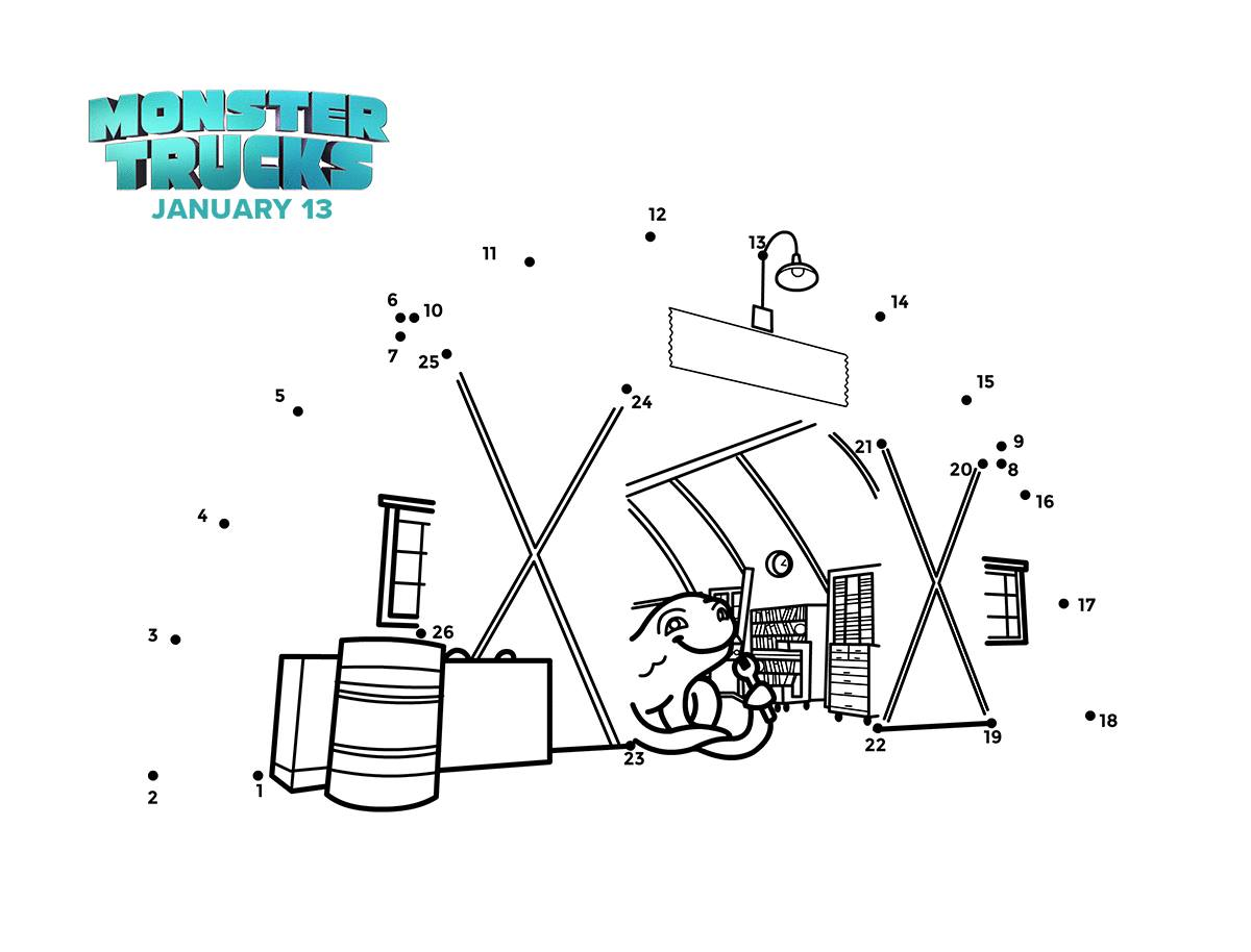 Monster Trucks Connect the Dots Coloring Page