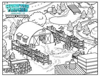 Monster Trucks Where's Creech Coloring Page