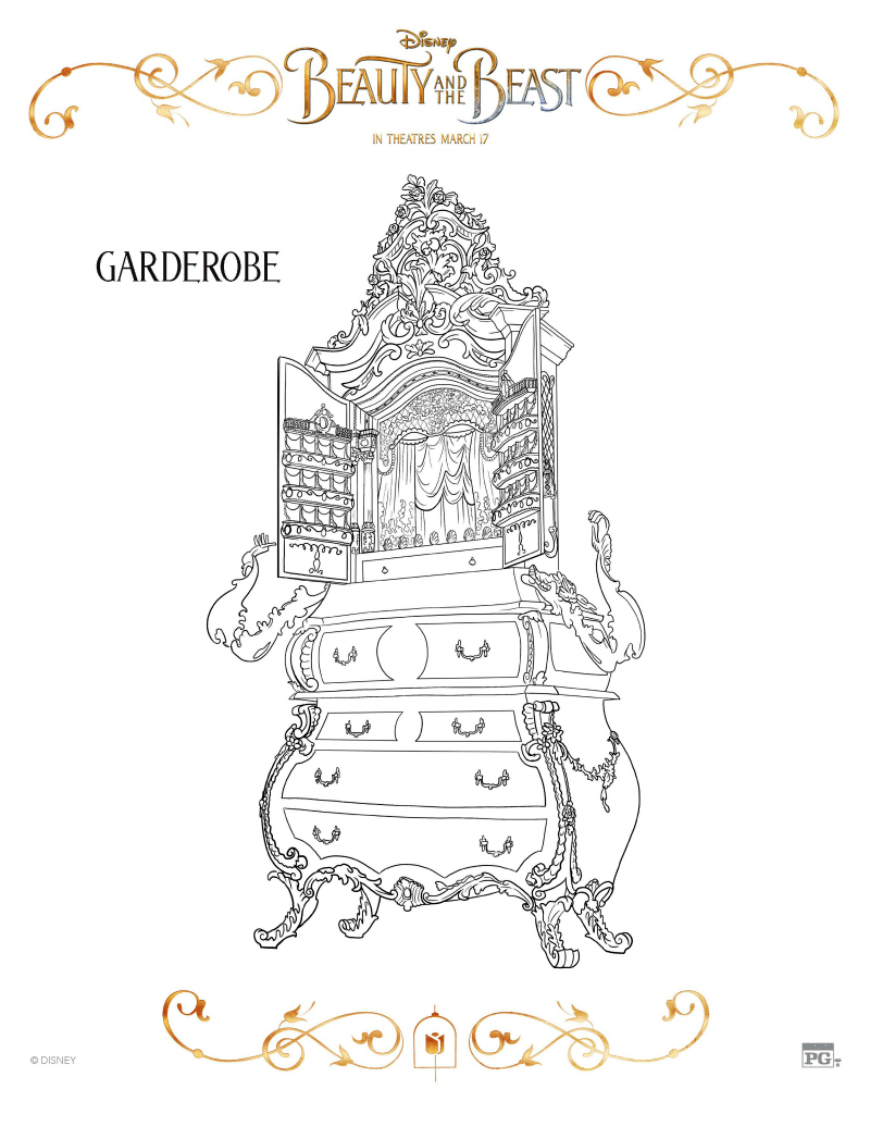 Disney Beauty And The Beast Garderobe Coloring Page