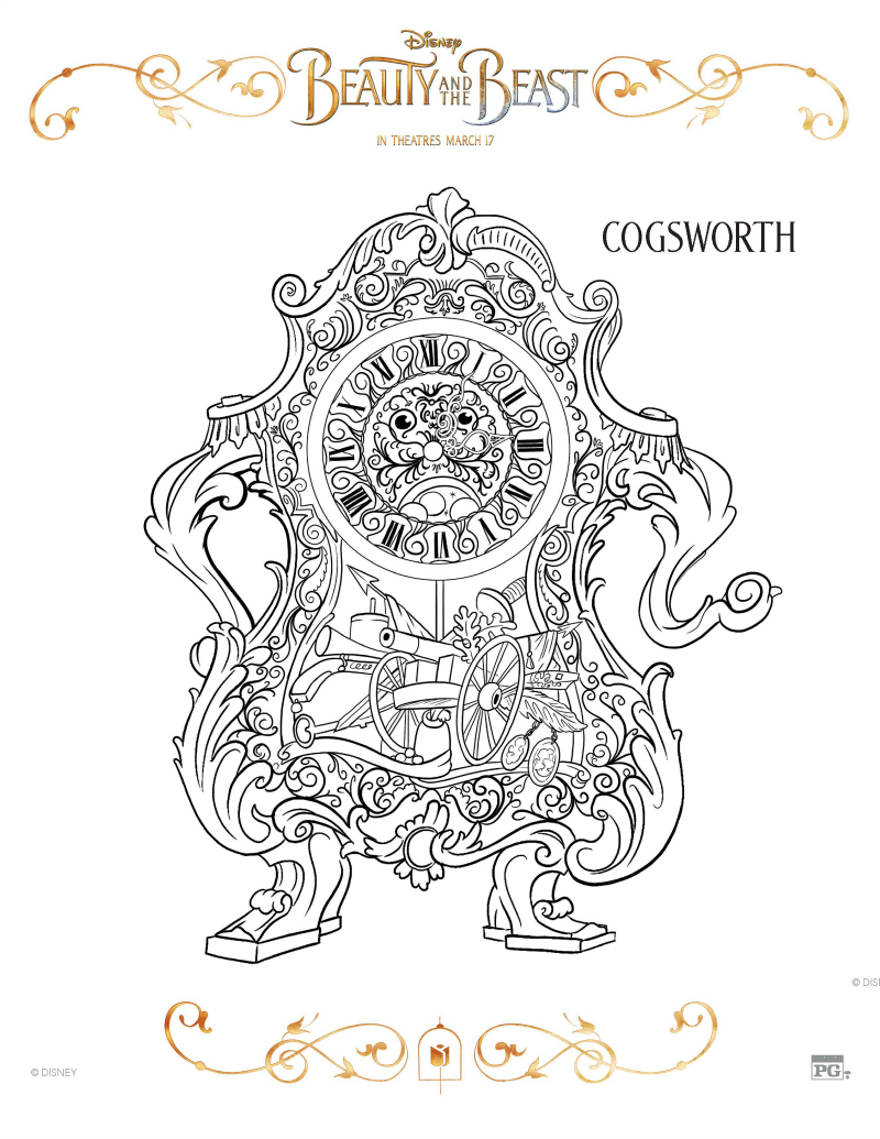 Disney Beauty And The Beast Cogsworth Coloring Page