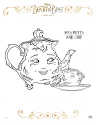 Disney Beauty And The Beast Mrs. Potts and Chip Coloring Page