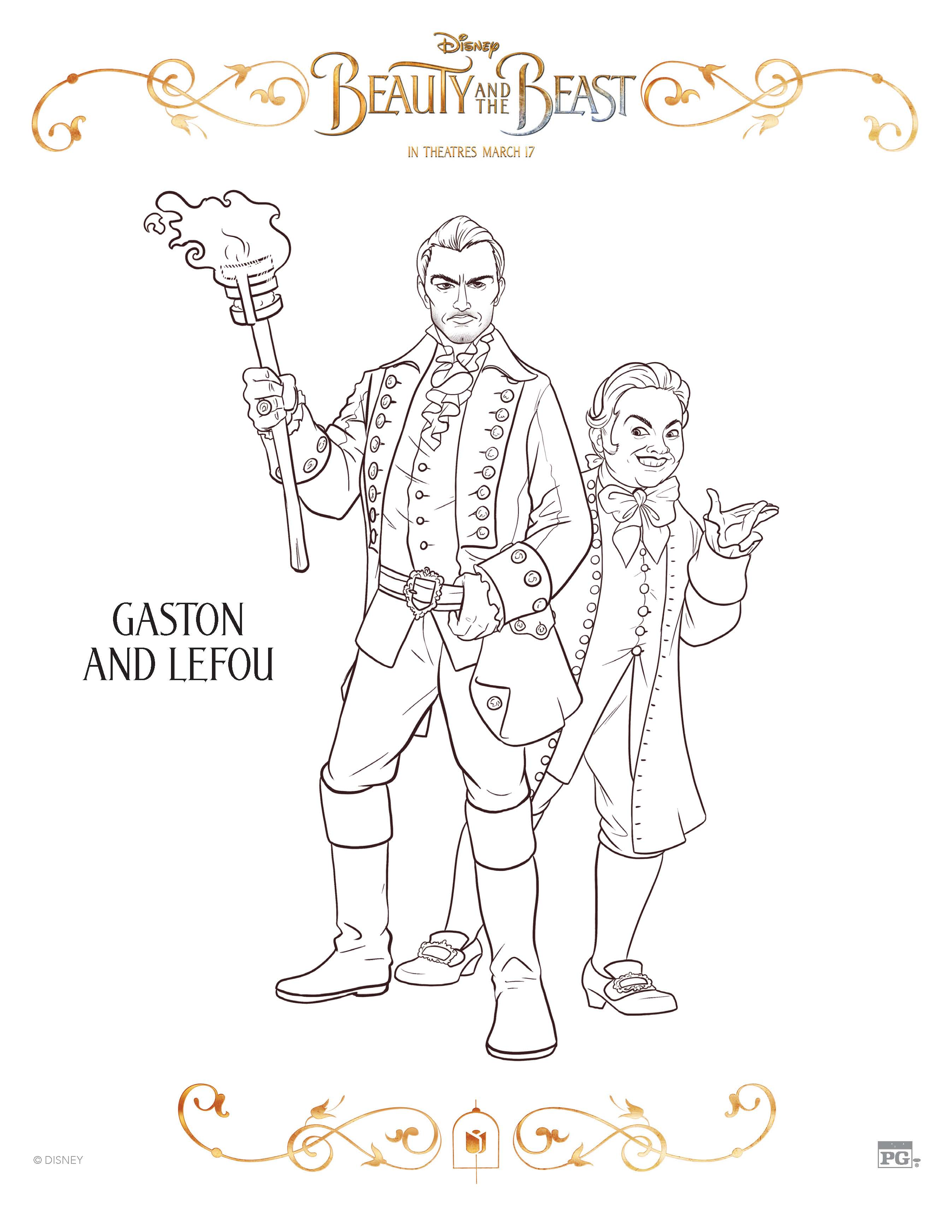 Disney Beauty And The Beast Gaston and Lefou Coloring Page