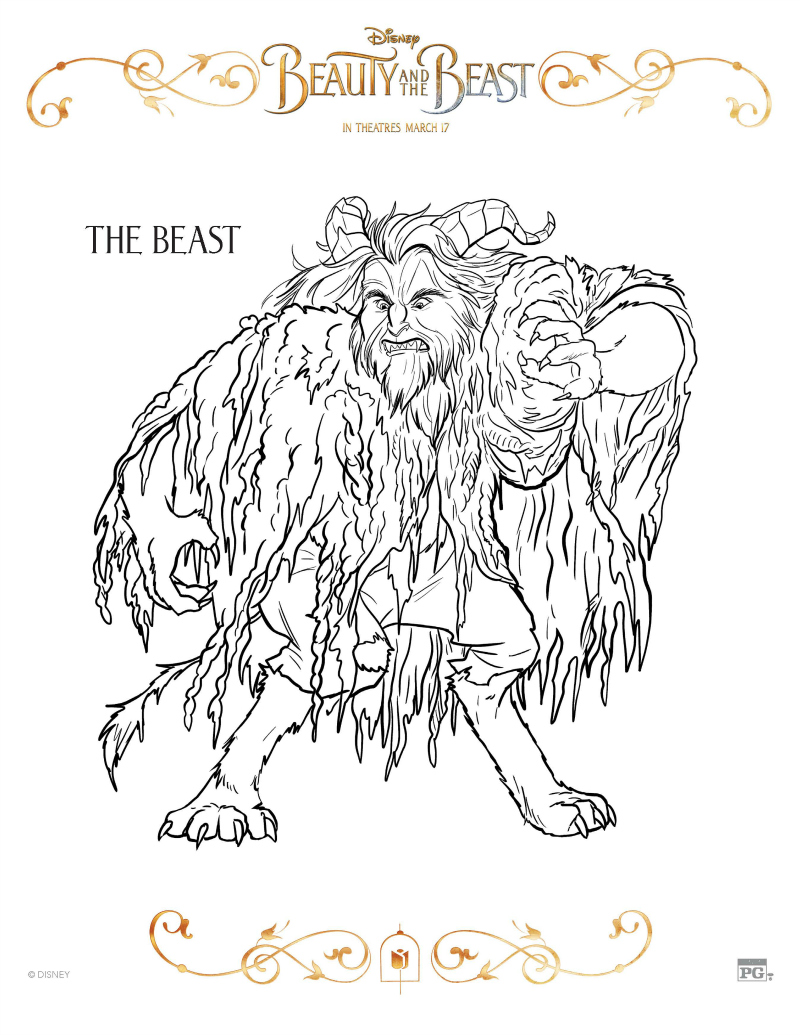 Beauty And The Beast Coloring Page - The Beast