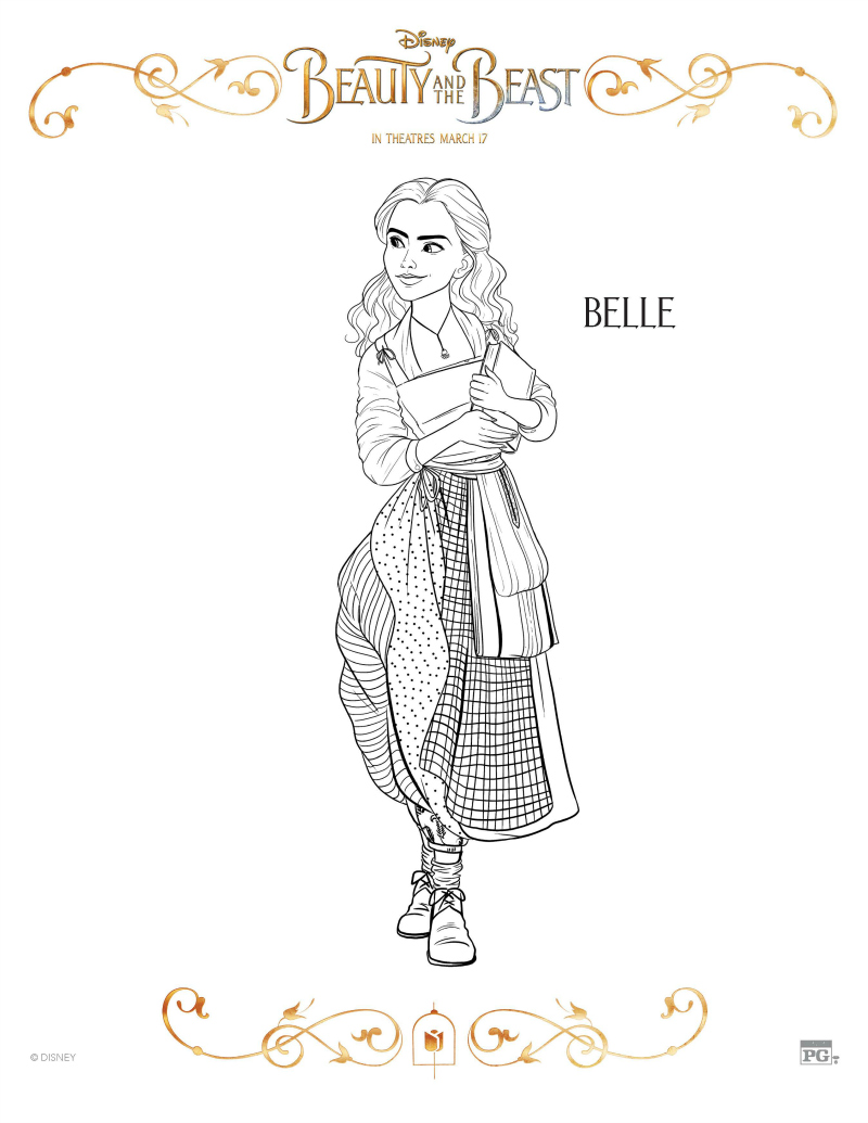Disney Beauty And The Beast Belle Coloring Page