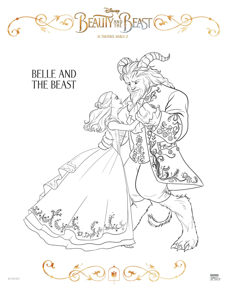 Disney Belle And The Beast Coloring Page