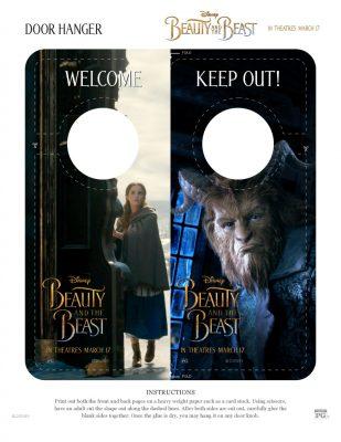 Free Disney Beauty and The Beast Door Hanger Craft