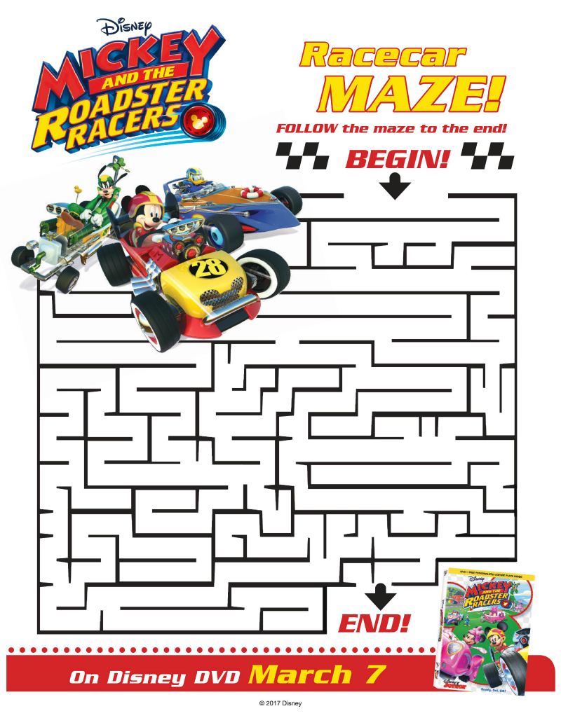 Roadster Racers Maze from Disney and Mickey Mouse | Mama ...