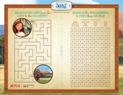 Spirit Riding Free Printable Activity Page with a Maze and Word Search