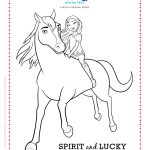 Spirit Riding Free Spirit and Lucky Coloring Page