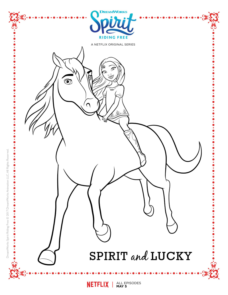 Free Printable Netflix Spirit Riding Free Spirit and Lucky Coloring Page